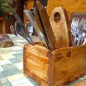 Evőeszköz tartó, Fából készült rusztikus evőeszköz tartó 4db...