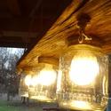 Mennyezeti lámpa,  Erős tölgyfa talpon nagyobb méretű /1,7 liter...