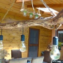 Lámpa, Rusztikus tömör fából készült. A Fa egyedi s...