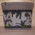 Mickey neszesszer, Táska, Neszesszer, Pénztárca, tok, tárca, Mickey egér mintás pamut és erős vászon anyagból készítettem ezt a neszesszert, fekete pamutcsipkéve..., Meska