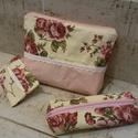 Vintage rózsás neszesszer szett rózsaszínnel, Ugyanabból az anyagból készült a szett minden ...