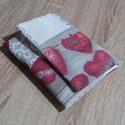 Szív mintás zsebkendő, tampon, betéttartó, Dekorvászon anyagból készül ez a zsebkendő ta...