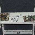 """LEÁRAZTAM! """"Mediterrán Udvarok"""" -Sámli Provence-i stílusban, Bútor, Otthon, lakberendezés, Komód, Szék, fotel, Festett tárgyak, Decoupage, szalvétatechnika, Praktikum és művészet találkozása: erre a fa sámlira festmények replikáit dekupázsoltam, miután a s..., Meska"""