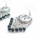 Fekete-ezüst fülbevaló, Tibeti ezüstből készült, áttört mintájú, k...