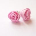 Rózsaszín rózsa fülbevaló, Apró bedugós rózsa fülbevalók, kisüthető gy...