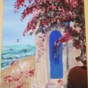 Mediterrán nyugalom, Otthon & lakás, Dekoráció, Kép, Képzőművészet, Festmény, Akril, Festészet, A termék mérete 30x40. Feszített vászonra festve akrillal.  A sok homok árnyalatnak köszönhetően a ..., Meska