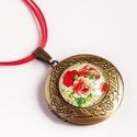 Rózsamintás bronzszínű nyitható medál , Ékszer, Nyaklánc,  Egy romantikus vintage rózsás képet ragasztottam ennek a kinyitható medálalapnak az üveglencs..., Meska