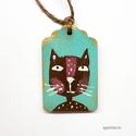 szerencse macska , egyedi, kezzel festett fa dekoracio. kb. 2.7x4.5 c...