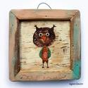 Bagoly , egyedi rusztikus fa dekoracio. falra akaszthato. k...