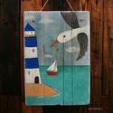 Tengeren, Dekoráció, Baba-mama-gyerek, Gyerekszoba, Kép, egyedi, kezzel festett, rusztikus fa dekoracio. falra akaszthato. kb. 35x50 cm + akaszto. kb. 1.5 cm..., Meska