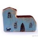 templom , egyedi rusztikus fa dekoracio.   kb 12 x 8.5cm, 2....