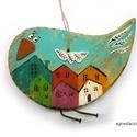 Madár aki sok házat látott már, egyedi, festett fa dekoracio. falra akaszthato. kb...