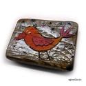 madárka hűtőmágnes , egyedi rusztikus fa dekoracio, hűtőmágnes. ( fe...