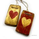 2 szív ( piros-arany) AKCIOS, Egyedi, rusztikus fa dekoracio. falra akaszthato. ...