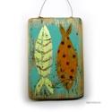 halak ,  egyedi, kezzel festett, rusztikus fa dekoracio. k...
