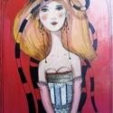 Kalap vagy haj?, Dekoráció, Képzőművészet, Kép, Festmény, Vekony farostlemezre festett akril kep. kb 14 x 30 cm. ( akaszto nelkul)   ajanlottan postazom.  10...., Meska