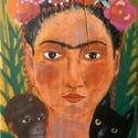 Frida, Otthon, lakberendezés, Képzőművészet, Festmény, Falikép, Egyedi, sajat festmenyem, ami akrilikkal keszult, rusztikus fara.  falra akaszthato.  kb. 29x68cm. k..., Meska
