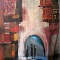 Kelet Kincse, Otthon, lakberendezés, Képzőművészet, Festmény, Falikép, Egyedi, sajat festmenyem, ami akrilikkal keszult, rusztikus fara.  falra akaszthato.  kb. 30x69cm. k..., Meska