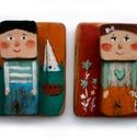 Egy fiú - Egy lány - fogas/akasztó, egyedi, festett fa dekoracio, akaszto/fogas. kulcs...