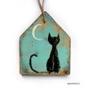 Fekete macsek , Dekoráció, Otthon, lakberendezés, Dísz, egyedi, rusztikus fa dekoracio. kb. 13.5 x17cm. kb 2.3cm vastag  ajanlottan postazom., Meska