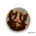 Medvebocsok, egyedi, kezzel festett, rusztikus fa dekoracio. fa...