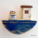 Tengerre fel kék hajón !, Otthon, lakberendezés, Baba-mama-gyerek, Dekoráció, Gyerekszoba, egyedi, kezzel festett, rusztikus fa dekoracio. falra akaszthato. kb. 15x13 cm.  ajanlottan postazom..., Meska