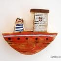 Tengerre fel piros hajón !, egyedi, kezzel festett, rusztikus fa dekoracio. fa...