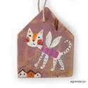 Macska angyal , Dekoráció, Otthon, lakberendezés, Dísz, egyedi, rusztikus fa dekoracio. kb. 13.5 x17cm. kb 2.3cm vastag  ajanlottan postazom., Meska