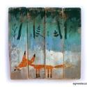 Erdőszélen, Dekoráció, Otthon, lakberendezés, Dísz, Falikép, egyedi, kezzel festett, rusztikus fa dekoracio. falra akaszthato. kb. 30 x 30 cm.  ajanlottan postaz..., Meska