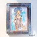 Helena - Titkon Istennő, Otthon, lakberendezés, Képzőművészet, Falikép, Festmény, Eredeti vizfestek kepem, rusztikus keretben. Dedikalva Kepmeret ( kerettel ) kb 24 x 30 cm. Hatul ak..., Meska