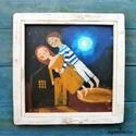 Haza viszlek , Otthon, lakberendezés, Képzőművészet, Falikép, Festmény, Eredeti acrylic festmenyem, rusztikus keretben. Dedikalva Kepmeret ( kerettel ) kb 36  x 36 cm. Hatu..., Meska