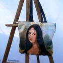 """Mona Lisa , Ruha, divat, cipő, Táska, Szatyor, Válltáska, oldaltáska, Egyedi """"bevasarlo"""" taska, vagy strandtaska.   Anyaga - konnyu oxford 100% polyester Moshato.  Merete..., Meska"""