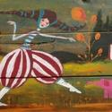 Cirkusz , Otthon, lakberendezés, Képzőművészet, Festmény, Falikép, Akril festmeny, rusztikus fara.   kb. 40x70cm. hatuljan 2 akaszto.  ajanlottan postazom.  A postakol..., Meska