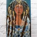 Egyiptomi hercegnő, Otthon, lakberendezés, Képzőművészet, Festmény, Falikép, Egyedi, sajat festmenyem, ami akrilikkal keszult, rusztikus fara.   50x80cm. hatuljan 2 akaszto.  aj..., Meska