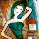 Zöld ruha , Otthon, lakberendezés, Képzőművészet, Illusztráció, Falikép, Kis peldanyszamban nyomtatott reprodukcio. Meret- A4.  A postaköltséget mi álljuk!, Meska