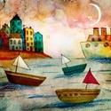 Kikötőben, Dekoráció, Képzőművészet, Kép, Illusztráció, Kis peldanyszamban nyomtatott reprodukcio. Meret- A4.  A postaköltséget mi álljuk!, Meska