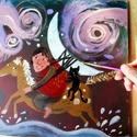 A bandita, Otthon, lakberendezés, Képzőművészet, Festmény, Akril, aki ellopta a holdat es a boszorkany fekete macskajat.  Egyedi, akril festmeny. Butorlapra festve. 3..., Meska