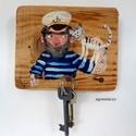 Barát a kikötőben, Dekoráció, Otthon, lakberendezés, egyedi, festett fa dekoracio, akaszto/fogas. kb. 16 x 13 cm.  falra erősitendő! ( csavarral kuldom) ..., Meska