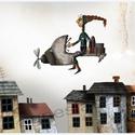 Széllurkó repül , Dekoráció, Képzőművészet, Otthon, lakberendezés, Illusztráció, Most ujra kaphato!  Kis peldanyszamu nyomat a sajat rajzomrol. A4-es, kituno minosegu papiron.   aja..., Meska