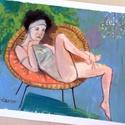 Csak egy nő , Otthon, lakberendezés, Képzőművészet, Napi festmény, kép, Falikép, Eredeti festmenyem papiron. Akrilik es szines ceruza. A kep nehol gyongyhaz festekkel keszult, tehat..., Meska