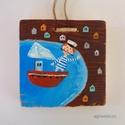 Befutó hajó, lelkes tengerész , Dekoráció, Otthon, lakberendezés, egyedi, festett fa dekoracio. kb. 15 x 15 cm.   ajanlottan postazom.  A postakoltseget mi alljuk. , Meska