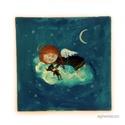 Szépet álmodó, Eredeti akril festmenyem. Meret kb : 20 x 20  cm. ...