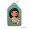 Kislány , Dekoráció, Otthon, lakberendezés, Képzőművészet, Dísz,  egyedi, rusztikus fa dekoracio. kb.  9.5  x 16 cm. kb  1.5 cm vastag  ajanlottan postazom.  A posta..., Meska