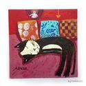 Alvó cica AKCIOS !, Otthon, lakberendezés, Képzőművészet, Napi festmény, kép, Falikép, Eredeti akrilik festmenyem. Kemeny kartonra festve. Hatuljan akasztoval.  Meret : kb 20 x 20 cm.  aj..., Meska