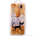 Bóklászó cicus , Dekoráció, Otthon, lakberendezés, Képzőművészet, Dísz, egyedi, rusztikus fa dekoracio. kb.  8.5 x 19.5 cm. ajanlottan postazom.  A postaköltséget mi álljuk..., Meska