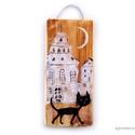 Fekete macska  , egyedi, rusztikus fa dekoracio. kb.  8.5 x 19.5 cm...