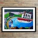 A tengerész útra kel AKCIOS !, Otthon, lakberendezés, Képzőművészet, Napi festmény, kép, Falikép, Festészet, Fotó, grafika, rajz, illusztráció, Eredeti akrilik festmenyem papiron.  Meret : A4  A keret csak illusztracio !  ajanlottan postazom. ..., Meska