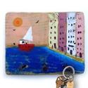 Kikötő kulcstartó AKCIOS, Ingyenes posta!  Egyedi, festett fa dekoracio, aka...