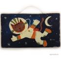 Space cat , Dekoráció, Otthon, lakberendezés, Képzőművészet, Dísz, egyedi rusztikus fa dekoracio. kb. 25,5 x 14.5 cm  A szinek elterhetnek a monitor  beallitasnak megf..., Meska