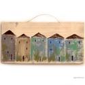 Házsor, Dekoráció, Otthon, lakberendezés, Képzőművészet, Dísz, egyedi rusztikus fa dekoracio. Falra akaszthato. kb. 29,5 x 14.5 cm + akaszto A szinek elterhetnek a..., Meska